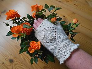 Rukavice - Bezprstové rukavice - návleky Ruže - 13192414_