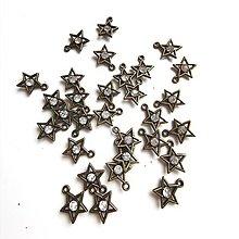 Komponenty - VÝPREDAJ -staromosadzná hviezdička s krištálikom 30ks - 13190369_