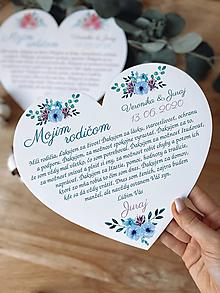 Darčeky pre svadobčanov - Poďakovanie rodičom 66 srdce kvietky - 13189986_