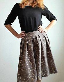 """Sukne - Dámska sukňa """"CELEBRATION"""" - sivá farba so zlatou rastlinnou potlačou - 13192042_"""