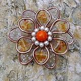 Brošne - Oranžový kvet - 13192100_