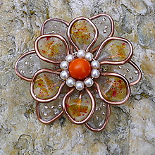 Odznaky/Brošne - Oranžový kvet - 13192100_