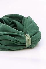Šatky - Jemný dvojitý nákrčník smaragdovozelenej farby zo 100% ľanu - 13191893_