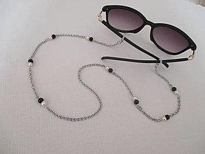 Iné šperky - Retiazka na okuliare - béžovo/čierna - chirurgická oceľ - 13191078_