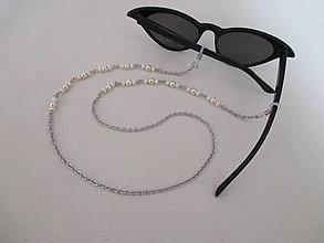 Iné šperky - Retiazka na okuliare - béžové korálky - chirurgická oceľ - 13191206_