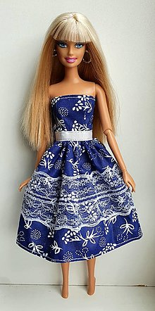 Hračky - Modrotlač šaty pre Barbie - 13194016_