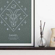 Grafika - ZNAMENIE, s tvojím textom, šalviový print - 13191530_