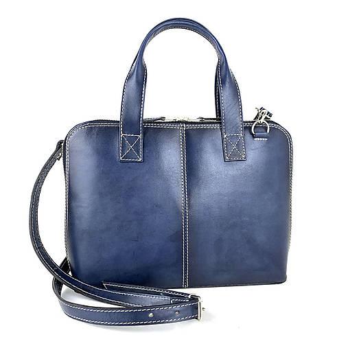 Na notebook - Kožená taška na notebook alebo dokumenty A4 v tmavo modrej farbe, ručne tieňovaná - 13190097_
