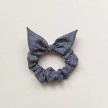 Ozdoby do vlasov - Recy-scrunchie modrá vzorovaná - 13191763_
