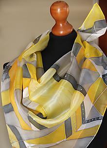 Šatky - Žlto-šedá hodvábna + GRÁTIS darčekové balenie... - 13192458_