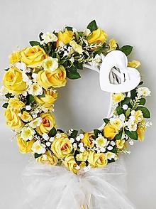 Dekorácie - Svadobný veniec Žlté ruže - 13191309_