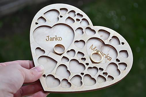 Svadobný tanierik Srdcia v srdci (Prírodný)
