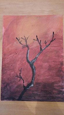 Obrazy - Zimný strom pri západe slnka - 13192798_