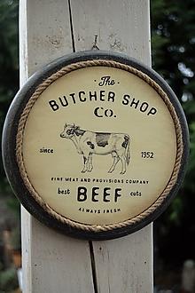 Obrázky - Okrúhle farmárske obrázky s keramickým efektom (Butcher Shop. - Kravička) - 13191508_