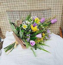 Dekorácie - Kytica s tulipánmi, jarná, letná, dekoračná, gratulačná, prírodná - 13197574_
