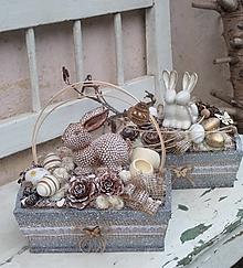 Dekorácie - Veľkonočná dekorácia v bedničke so zajačikom - 13197537_