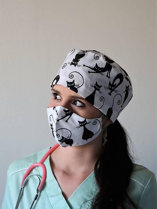 Dizajnová operačná / chirurgická čiapka mačky
