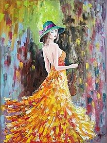 Obrazy - Dáma v klobúku s husľami - 13196024_