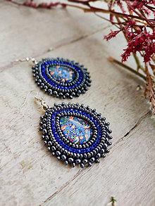 Náušnice - William Morris earrings - vyšívané náušnice - 13197761_