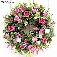 Dekorácie - Romantický veniec v ružovom - 13197013_