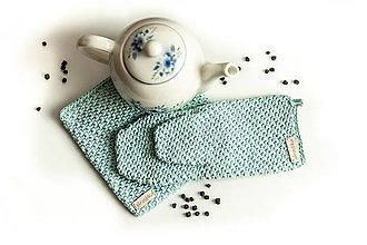 Úžitkový textil - Set podložka a chňapka bledá modrá - 13195064_