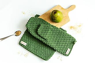Úžitkový textil - Set podložka a chňapka olivová - 13195095_
