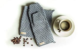 Úžitkový textil - Set podložka a chňapka šedofialová - 13195110_