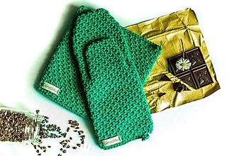 Úžitkový textil - Set podložka a chňapka zelená - 13195139_