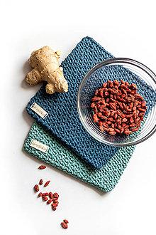 Úžitkový textil - Set podložiek (chňapiek) v modrej farbe - 13195174_