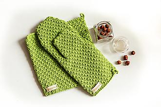 Úžitkový textil - Set podložka a chňapka pistáciová - 13195216_