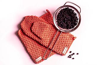 Úžitkový textil - Set podložka a chňapka lososová - 13195221_