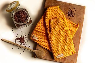 Úžitkový textil - Set podložka a chňapka zlatá žltá - 13195250_