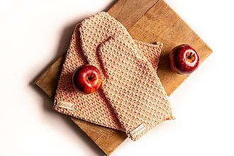 Úžitkový textil - Set podložka a chňapka broskyňová - 13195269_