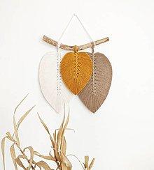 Dekorácie - Makramé závesná dekorácia FALL (biela/žltá/svetlohnedá) - 13196598_