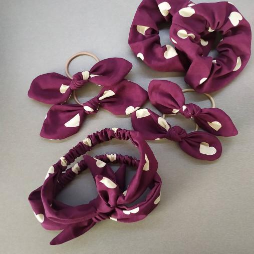 Gumičky, mašle a čelenky rôzne farby (Bordová scrunchie)