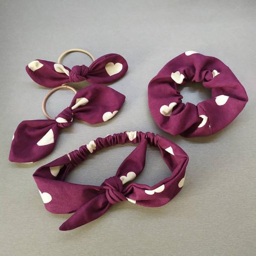 Gumičky, mašle a čelenky rôzne farby (Bordová gumička s mašľou 15cm)