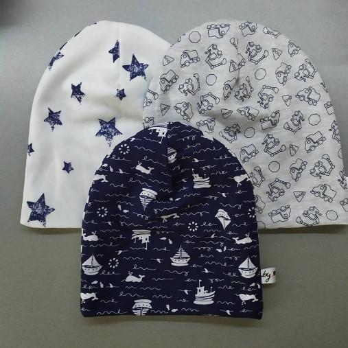 Detská čiapka pre dievča aj chlapca rôzne farby (40cm lode a pruhy)