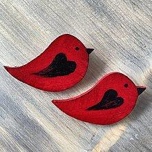 Brošne - Drevená brošňa vtáčik - 13195298_