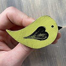 Brošne - Drevená brošňa vtáčik - 13195322_