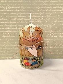 Svietidlá a sviečky - veľkonočná sviečka zajačiky - 13197851_
