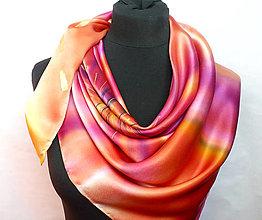 Šatky - Ohnivý květ. Luxusní hedvábný šátek. - 13200969_