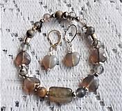 Sady šperkov - Dymový achát šedý - 13201071_
