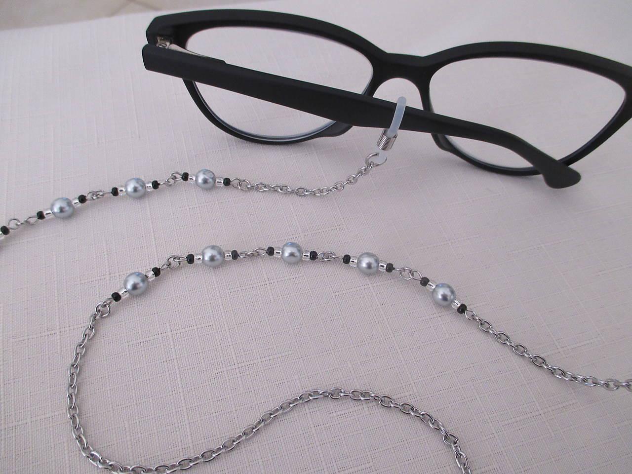 Retiazka na okuliare - strieborno/čierna - chirurgická oceľ