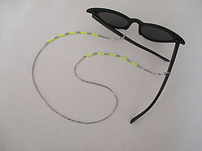 Iné doplnky - Retiazka na okuliare - krikľavo žlté korálky - chirurgická oceľ - 13200373_