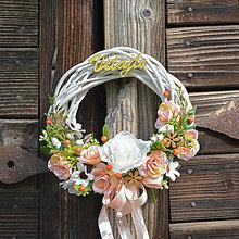 Dekorácie - Venček na dvere s nápisom Vitajte - 13201894_