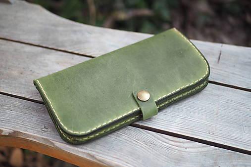 Peňaženky - Dámská kožená peněženka zelená - 13200887_