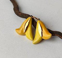 Náušnice - Keramické náušnice- tulipániky žlté so zlatom - 13200610_