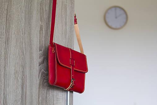Kabelky - Červená kožená kabelka - 13201271_