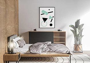 Grafika - Plagát na stenu - geometria II. (Tyrkysová) - 13200312_