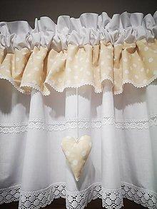 Úžitkový textil - Záclonka a štola v bežovom - 13200304_